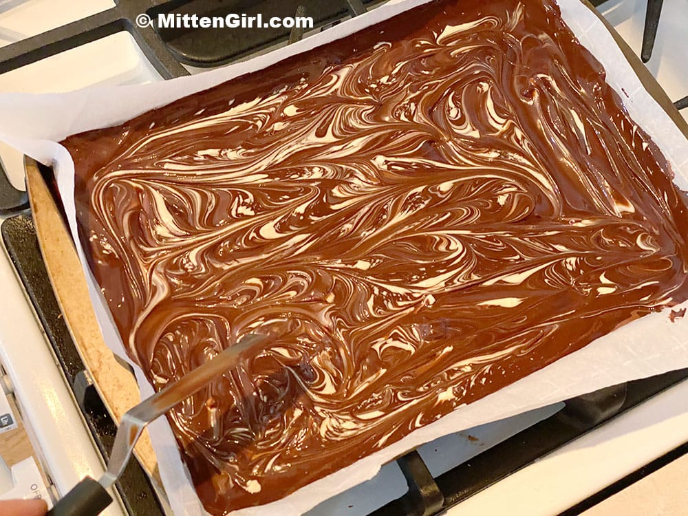 Swirl the chocolate together for the peppermint bark