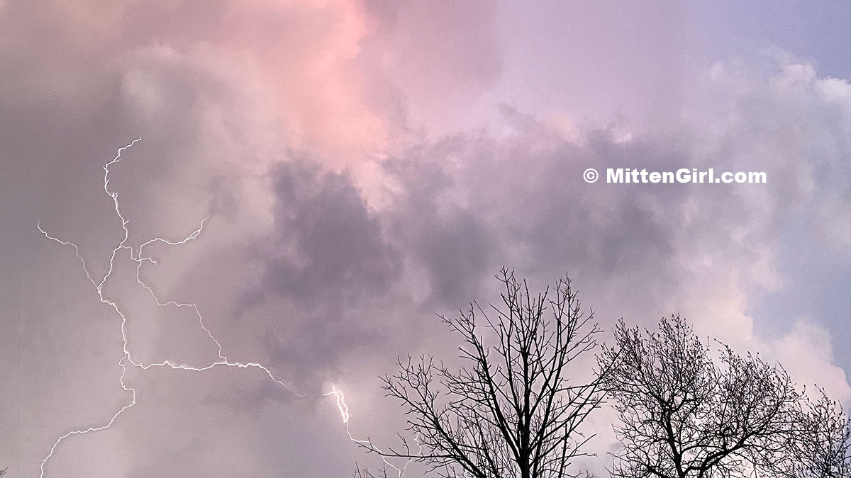 Storm clouds, lightening and trees