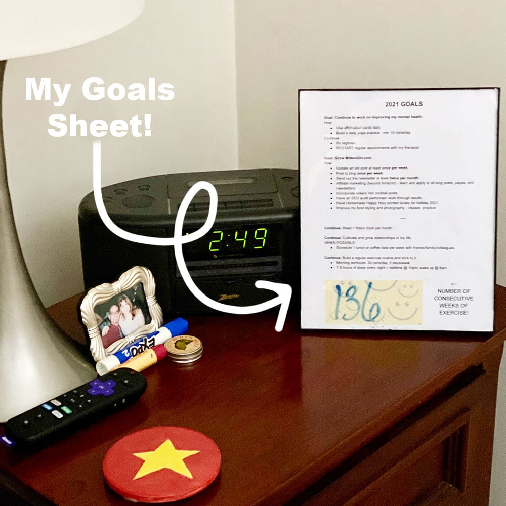 My Goals Sheet sitting next to my bed.