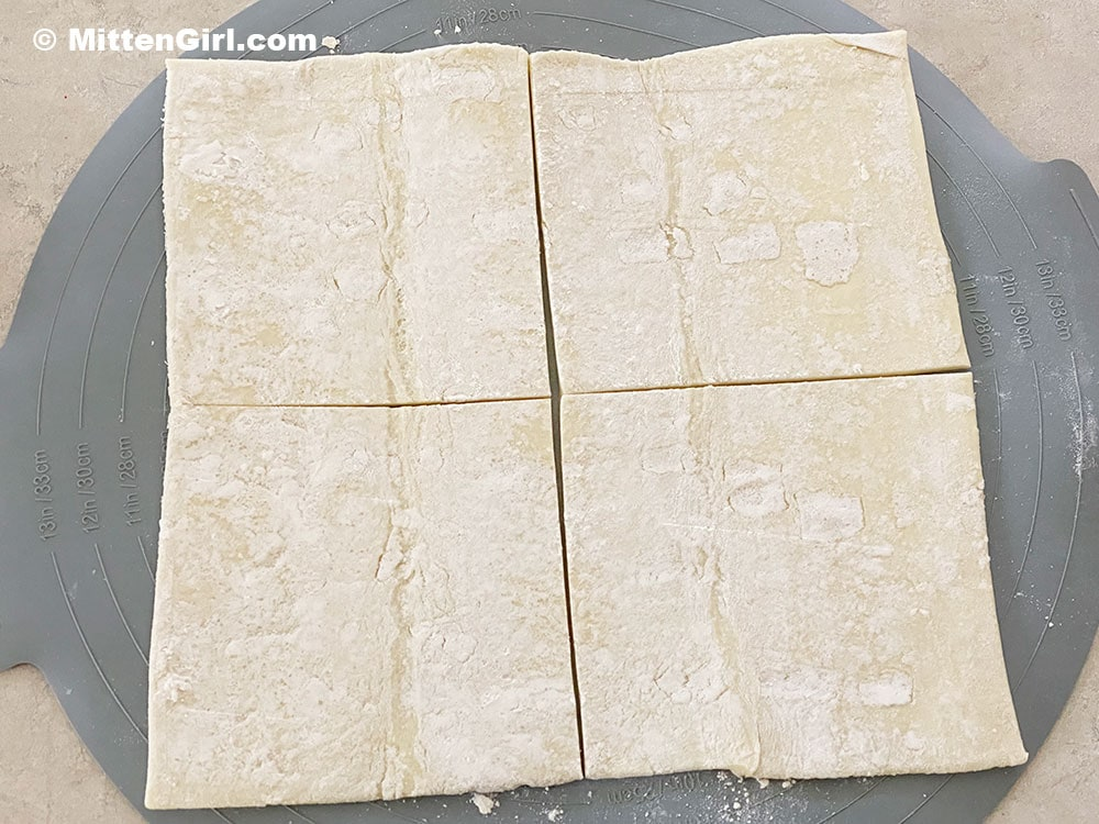 Divide the dough into four equal pieces