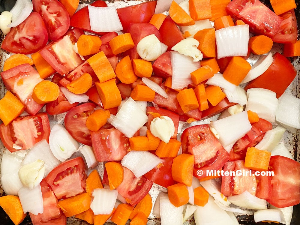 Chopped vegetables ready to go in the oven