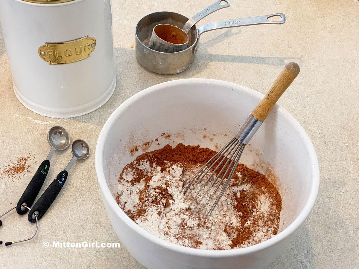 Chocolate banana bread dry ingredients