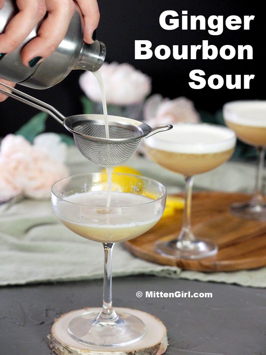 Ginger Bourbon Sour Cocktail